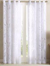 "*Madison Park Vina Sheer Print Grommet Top Curtain Panel 50""WX 84""L White NEW"