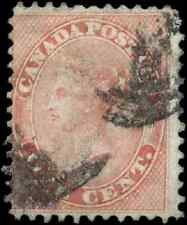 Canada #14 used VG-F HR 1859 First Cents 1c rose Queen Victoria CV$30.00