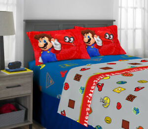 Super Mario Odyssey 4 piece Full Size Microfiber Sheet Set - New In Package