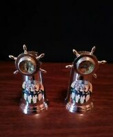 Vtg West Point Souvenir Silvertone Ships Wheel Compass Salt And Pepper Shakers
