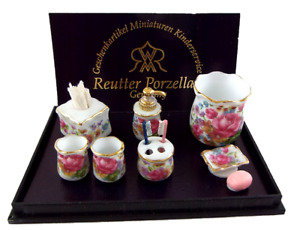 Maison de Poupées Dresden Rose Salle Accessoire Ensemble Reutter Porcelaine Mini