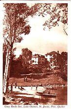 Canada Saint Jovite Quebec Lake Ouimet - Gray Rocks Inn Beach old sepia postcard