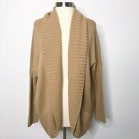 Haute Hippie Medium Large Wool Shawl Collar Open Front Sweater Cardigan Cocoon