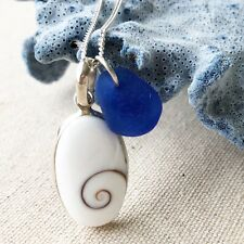 Unique Oval Shiva Shell SS Necklace w/ Rare Cornflower Blue Genuine Sea Glass