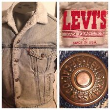 Vtg Levi's Red Tab Denim Jacket Sherpa  Acid Wash Distressed San Fran USA M