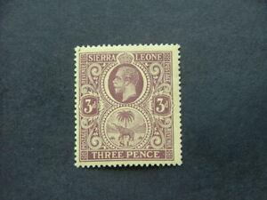Sierra Leone KGV 1921 3d purple on pale yellow SG116ba UM/MNH