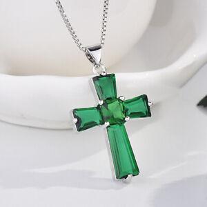 Hotsale Cross Shape Green Citrine Gemstone Women Silver Necklace Pendants 18''