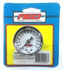 "AED 6100 Analog Fuel Pressure gauge-1.5"" White Face-1/8""NPT Screw-in - 0-15 PSI"