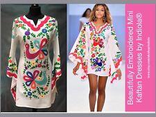 BNWT Embroidered Peacock & Floral Mexican Style Mini Kaftan Dress S M L XL XXL