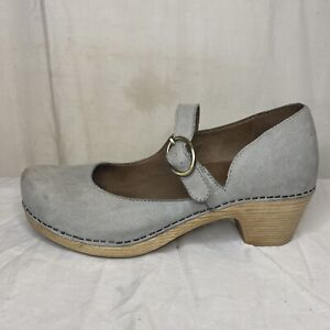 Dansko Missy Light Grey Milled Nubuck Leather Mary Jane Clog Women EUR 39 US 8.5