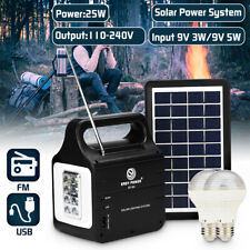 25W Solar Power Panel Generator Storage USB Charger LED Light  Home Outdoor Kit