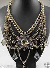 NEW Bib Statement inspiration pendant Chunky flower Crystal Choker necklace 631