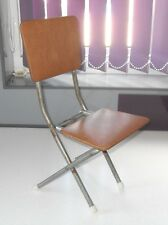 VINTAGE 1940/50s CHILDS FOLDING CHAIR METAL FRAME WITH VINYL SEAT & BACK