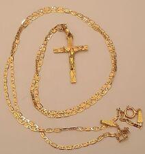7b164f4f3d3 Real 14k Yellow Rose Gold Crucifix Jesus Cross Pendant 18 Inch Valentino  Chain