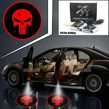 2X No-Drill Sticker 3D Logo Red Punisher Skull Welcome Shadow Light Led Car Door