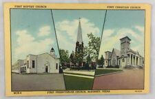 Vintage Postcard 1948 McKinney Texas Linen Church Baptist Christian Presbyterian