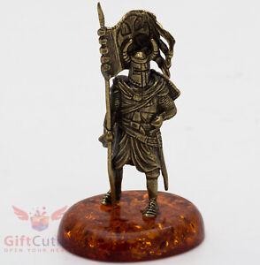 Brass Amber Figurine Teutonic Crusader Knight battle flag Colour guard IronWork