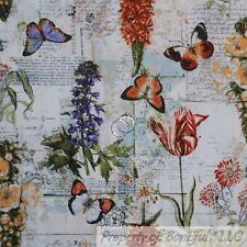 BonEful Fabric FQ Cotton Quilt VTG Natural Flower Butterfly Garden Cottage Home
