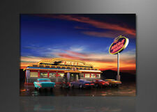 Bilder Leinwandbild Wandbild american diner 80 x 60 cm aufhängfertig  4148