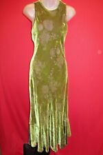 APRIL CORNELL Victorian Trading Olive Green Silk Velvet Floral Burnout Dress XS