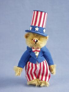 """DEB CANHAM  """"UNCLE SAM"""" GOLDEN BROWN MOHAIR MINIATURE BEAR DRESSED AS UNCLE SAM"""