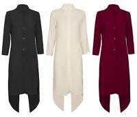 New Women  Asymmetric Holden Black Open Back Maxi Shirt Blouse Top Dress 8-14