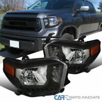 For 14-21 Toyota Tundra Pickup Black Headlights Head Lights Lamps Left+Right