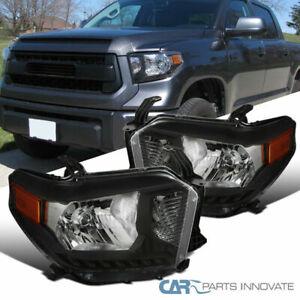 For 14-21 Toyota Tundra Pickup Black Headlights Head Lights Lamps Left+Right