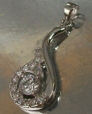 925 STERLING SILVER and clear CZ Drop shaped CHARM PENDANT fits Necklace