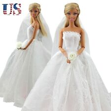 US Fashion Wedding Dress Bridal Veil Princess Gown Cloth Outfit for Barbie Dolls