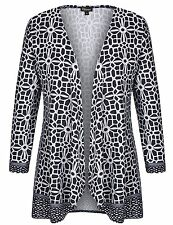 Women's Geometric Print Blazer Cashmere Touch Plus Size Jacket 2X,Black & White