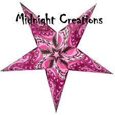 PAPER STAR LIGHT HANGING LANTERN  Fuchsia  'Swirls'  With hanging cord