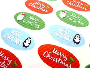 Joyeux Noël Sceau Ovale Étiquettes, Autocollants Pour Cartes & Craft - 7 Modèles