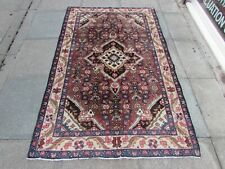Vintage Worn Hand Made Traditional Oriental Wool Faded Red Large Rug 206x128m