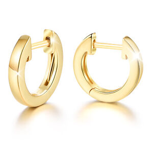 Simple 18K Gold Small Round Hoop Earring for Women Solid 925 Silver Jewelry