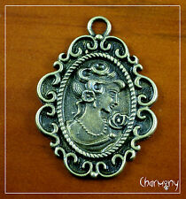 Antique Bronze Large Cameo pendant charm ~Victoriana lady scroll oval metal rose