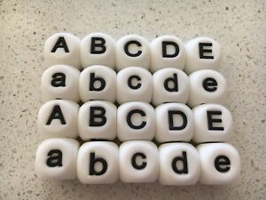 40 X Bead Silicone Letters Pack - Assorted 15mm Name Alphabet DIY Choose Yours