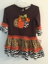 RARE EDITIONS Baby 24 Month Halloween Thanksgiving Dress Glitter NWT