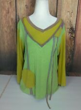 Dolcezza Top Tunic Multicolor Patches Block 3/4 Sleeves Yellow XL Extra Large