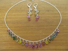 NATURAL A+ WATERMELON TOURMALINE FACETED BRIOLETTES STERLING SILVER NECKLACE SET