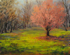"""Okame cherry. Original framed and matted oil on paper 11""""x14"""" painting"""
