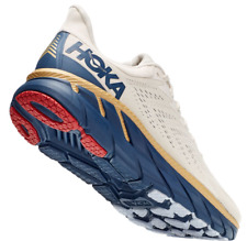 Hoka One One Clifton 7 Beige Gold Blue Athletic Running Shoes Mens Size 10.5