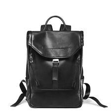 "Men's Genuine Leather Backpack Black Classic Casual Travel Bag 14"" Laptop bag"