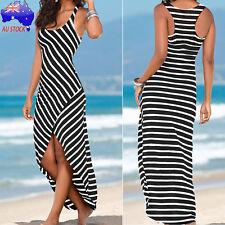 Women Irregular Casual Sundress Sleeveless Stripes Loose Long Beach Party Dress