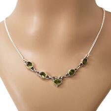 Peridot Halskette Silber 925 Collier 40cm Kette 5 Cutstone Edelsteine  Grün