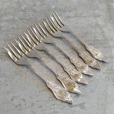 Vintage Silver Plated Cake Forks Set of 6 Ornate EPNS Unbranded Unpolished