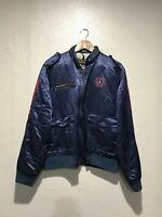 Vintage MERCEDES BENZ Style Auto Blue Racing Jacket Size M Embroidered