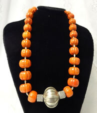 Antique Chinese Natural Carved Coral Round Pumpkin Beads Silver 282 g Necklace