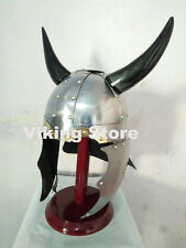 Medieval Viking Horn Helmet Armor Ancient Replica Costume Without Stand FREE PP