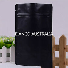 100X 500G(1,300ML) PLASTIC STAND UP POUCH BAG, MATTE BLACK, WITH ZIP LOCK